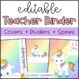 Editable Teacher Binder Covers and Spines {Unicorn Design}