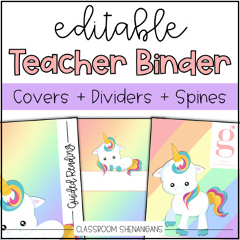Editable Teacher Binder Covers and Spines {Unicorn Design}