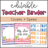 Editable Teacher Binder Covers and Spines (Watercolor Floral Design)