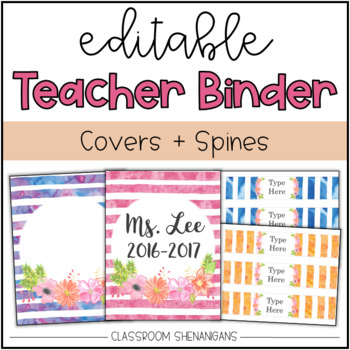 Editable Teacher Binder Covers And Spines Watercolor Floral Design