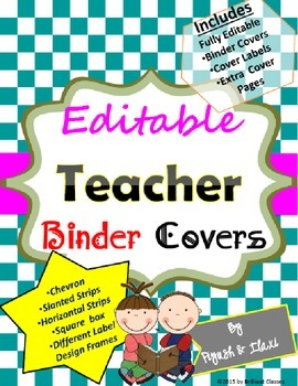 Editable Teacher Binder Covers with various background designs