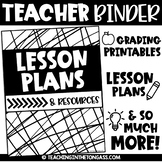 Teacher Binder Editable (Lesson Plan Template Editable & MORE)