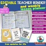 Teacher Binder   EDITABLE   FREE Updates for Life   [Weekl