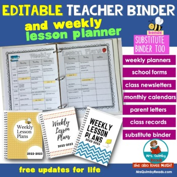 teacher binder editable free updates for life weekly planners
