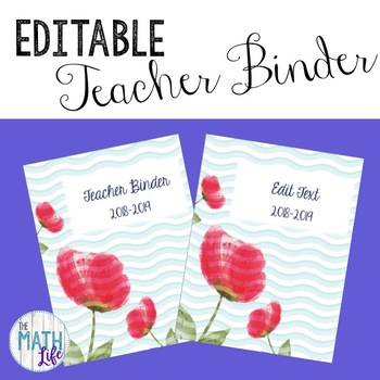 Editable Teacher Binder Flowers