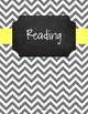 {Editable Teacher Binder} Gray Chevron Chalkboard with Butter Yellow Ribbon