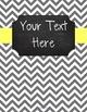 {Editable Teacher Binder} Gray Chevron Chalkboard with Butter Yellow Ribbon
