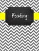{Editable Teacher Binder} Gray Chevron Chalkboard with Lemon Yellow Ribbon