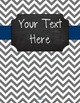 {Editable Teacher Binder} Gray Chevron Chalkboard with Navy Ribbon