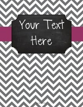 {Editable Teacher Binder} Gray Chevron Chalkboard with Plum Ribbon