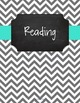 {Editable Teacher Binder} Gray Chevron Chalkboard with Turquoise Ribbon
