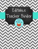 {Editable Teacher Binder} Gray Chevron Chalkboard with Tur