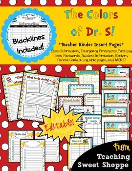 The Colors of Dr. S!  *Editable* Teacher Binder Insert Pages