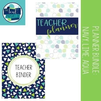 Editable Teacher Binder & Lesson Planner Bundle 17-18: Navy, Lime, Aqua