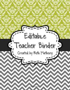 {Editable Teacher Binder} Lime Damask and Gray Chevron