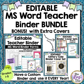 Editable Teacher Binder-MS Word Fully Editable Teacher Planner + 2 Cover Sets