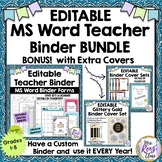 Editable Teacher Binder-MS Word Fully Editable Teacher Planner BUNDLE