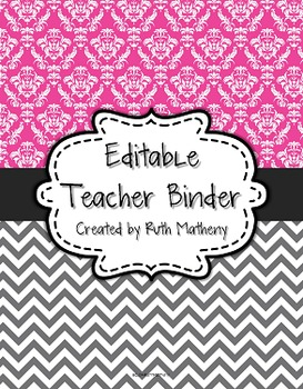 {Editable Teacher Binder} Magenta Damask and Gray Chevron