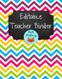 {Editable Teacher Binder} Multi Chevron Brights Chalkboard