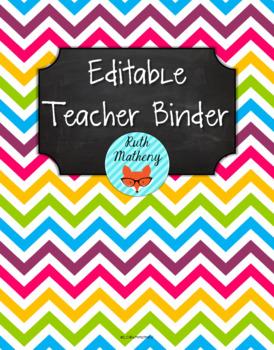 {Editable Teacher Binder} Multi Chevron Brights Chalkboard