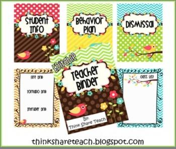 Editable Teacher Binder: Multicolored Bird Theme