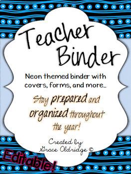 Editable Teacher Binder {Neon}