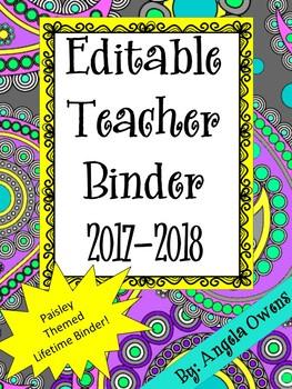 Editable Teacher Binder:  Paisley Themed!