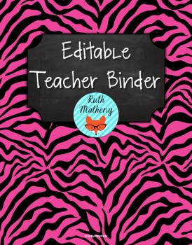 {Editable Teacher Binder} Pink & Black Zebra Chalkboard