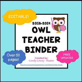 Editable Teacher Binder & Plan Book Bundle - Owls
