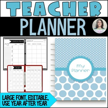Editable Teacher Binder/Planner - 175 pages - simple, large layout, black/white