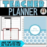 Editable Teacher Binder/Planner - 175 pages - simple, larg