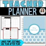 Editable Teacher Binder/Planner - 175 pages - simple, larg