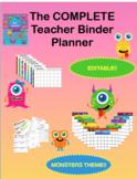 Editable Teacher Binder Planner All In One Monster Theme