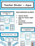 Editable Teacher Binder & Planner - Aqua {FREE LIFETIME UPDATES!!!}