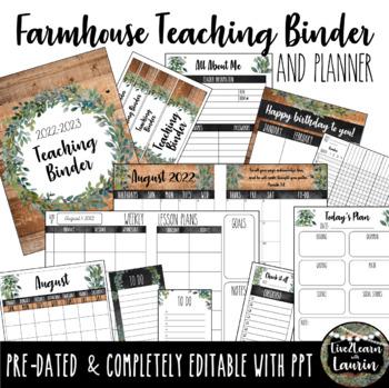 Editable Teacher Binder & Planner (Farmhouse)
