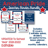 Editable Teacher Binder, Planner- Stars and Stripes Proud