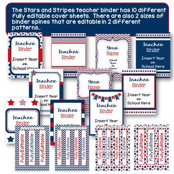 Editable Teacher Binder, Planner- Stars and Stripes Proud