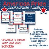 Editable Teacher Binder, Planner- Stars and Stripes Proud Patriotic America