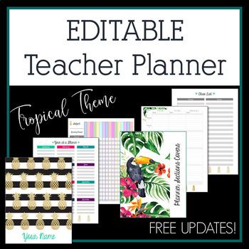 2018-2019 Gold Pineapple Editable Teacher Planner & Binder - Free Updates!