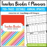 Rainbow Teacher Binder