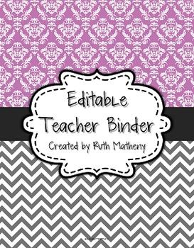 {Editable Teacher Binder} Purple Damask and Gray Chevron