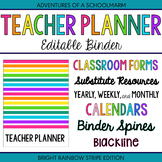 Editable Teacher Planner Binder Rainbow Stripes 2018-2019