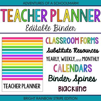 Editable Teacher Planner Binder Rainbow Stripes (Includes