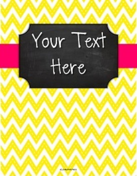 {Editable Teacher Binder} Stitched Yellow Chevron Chalkboard with Pink Ribbon