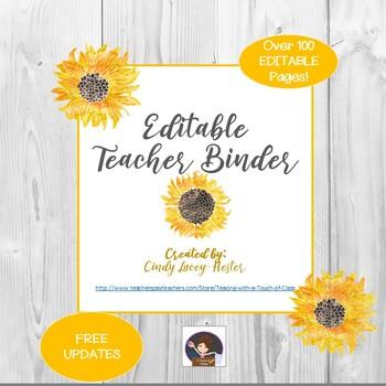 Editable Teacher Binder - Sunflowers