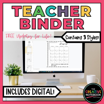 Editable Teacher Binder | Digital Teacher Planner 2018-2019 | also GOOGLE DRIVE