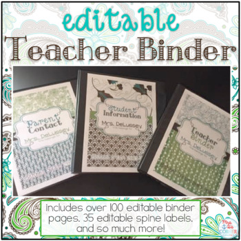 Editable Teacher Binder { Teal Mosaic } Ultimate Teacher Survival Binder