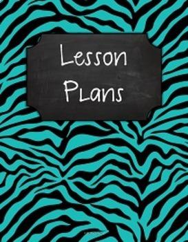 {Editable Teacher Binder} Turquoise & Black Zebra Chalkboard
