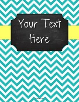 {Editable Teacher Binder} Turquoise Chevron Chalkboard with Butter Yellow Ribbon