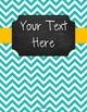 {Editable Teacher Binder} Turquoise Chevron Chalkboard with Orange Ribbon